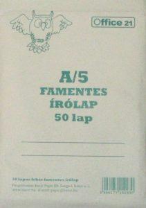 A5 méretű írólap